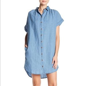 Madewell central linen blend shirt dress